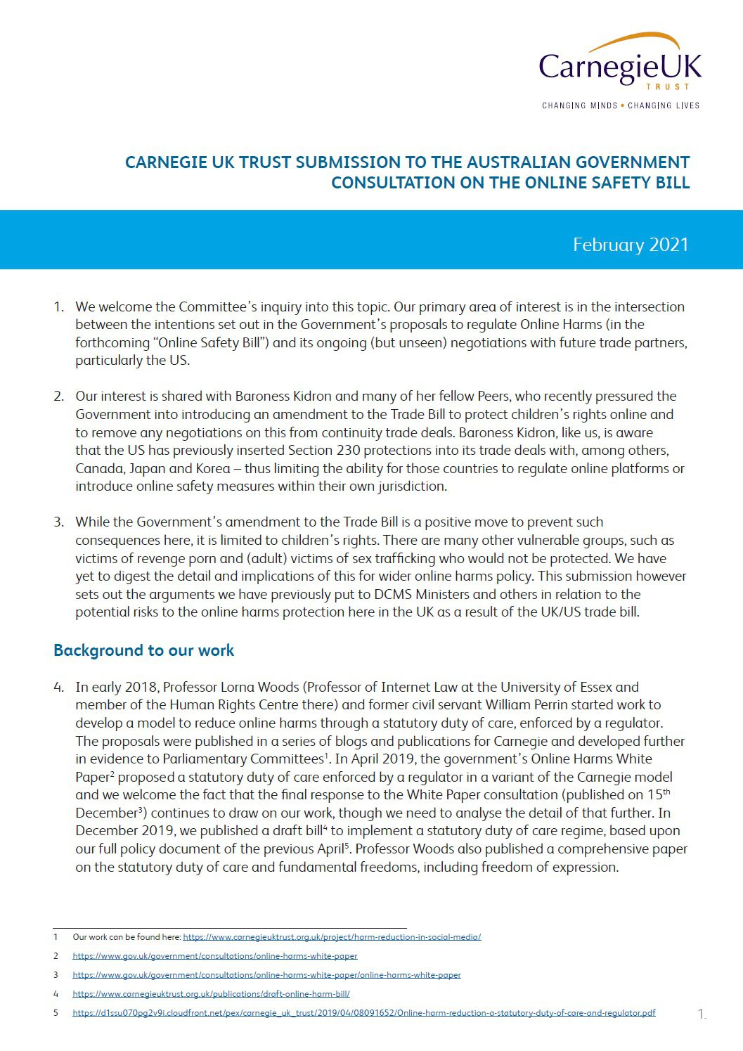 Submission to the Australian Government consultation on the Online Safety Bill