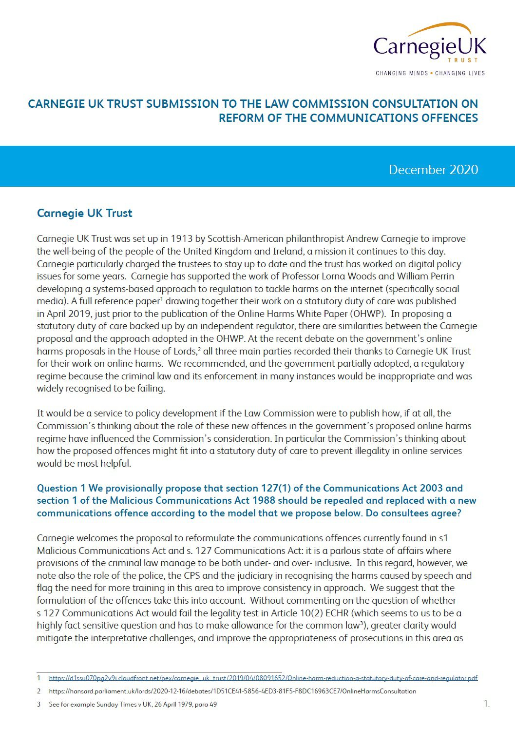 Submission to the Law Commission consultation on Reform of the Communications Offences
