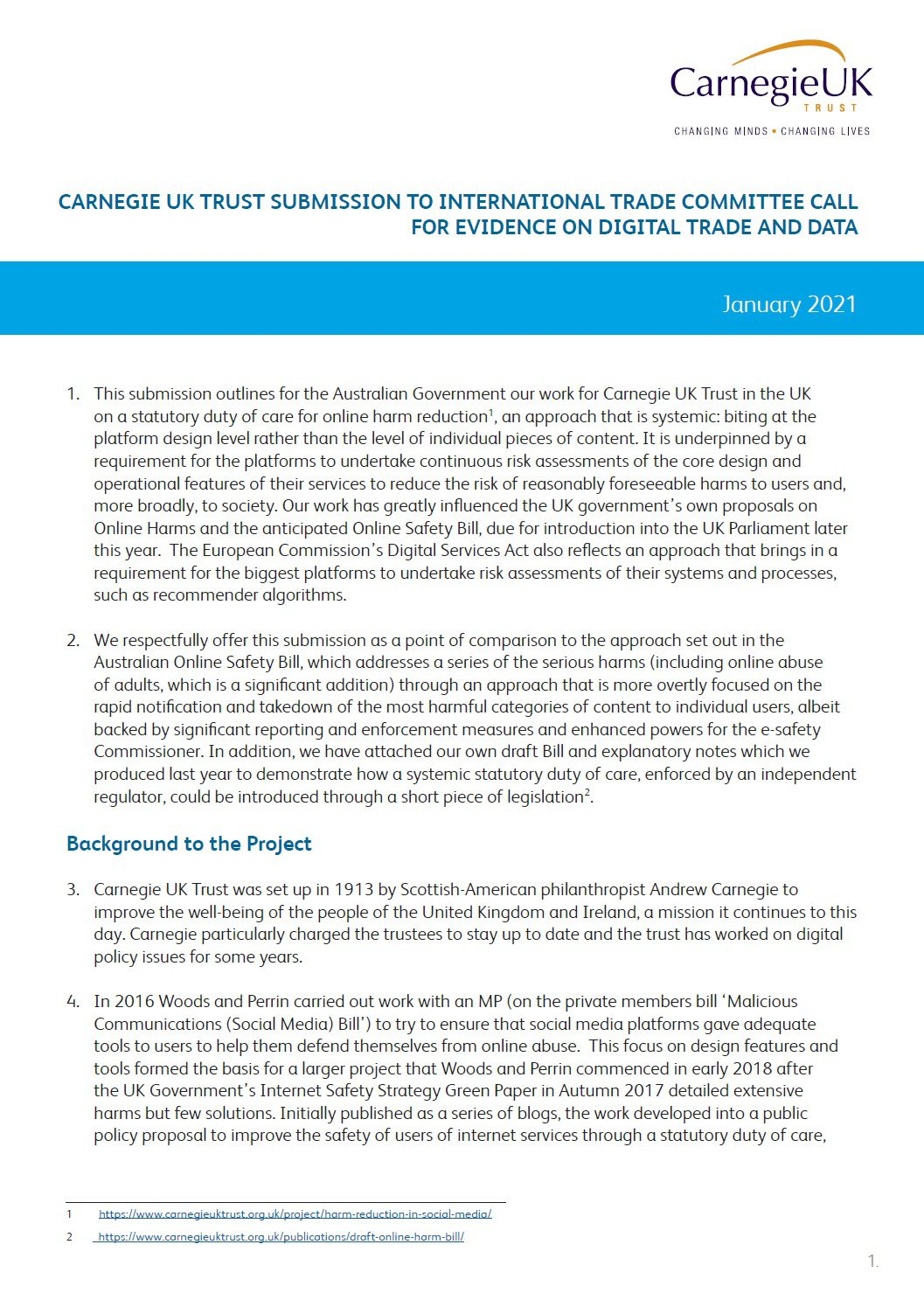 Submission to International Trade Committee call for evidence on digital trade and data