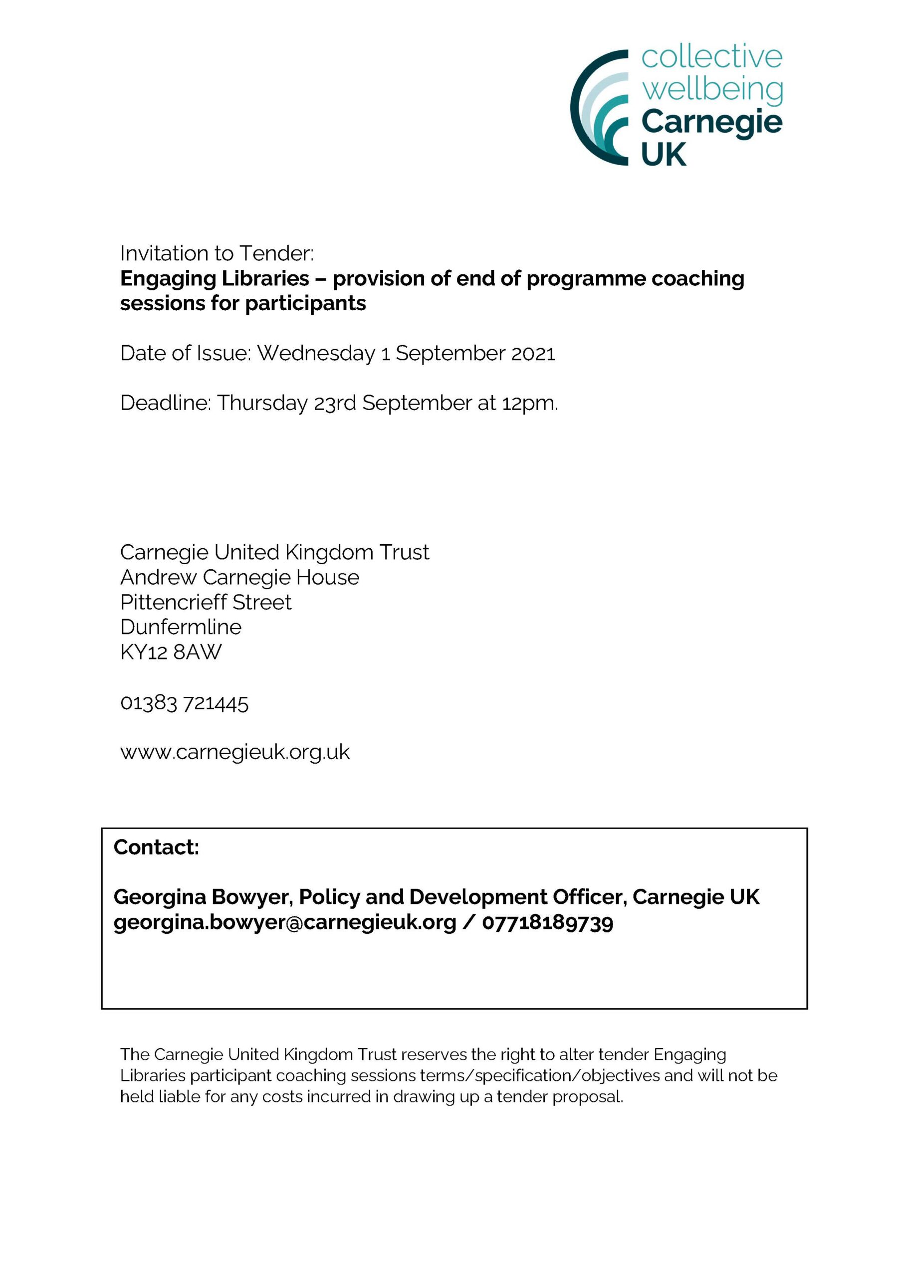 Invitation to Tender Engaging Libraries – provision of end of programme coaching sessions for participants