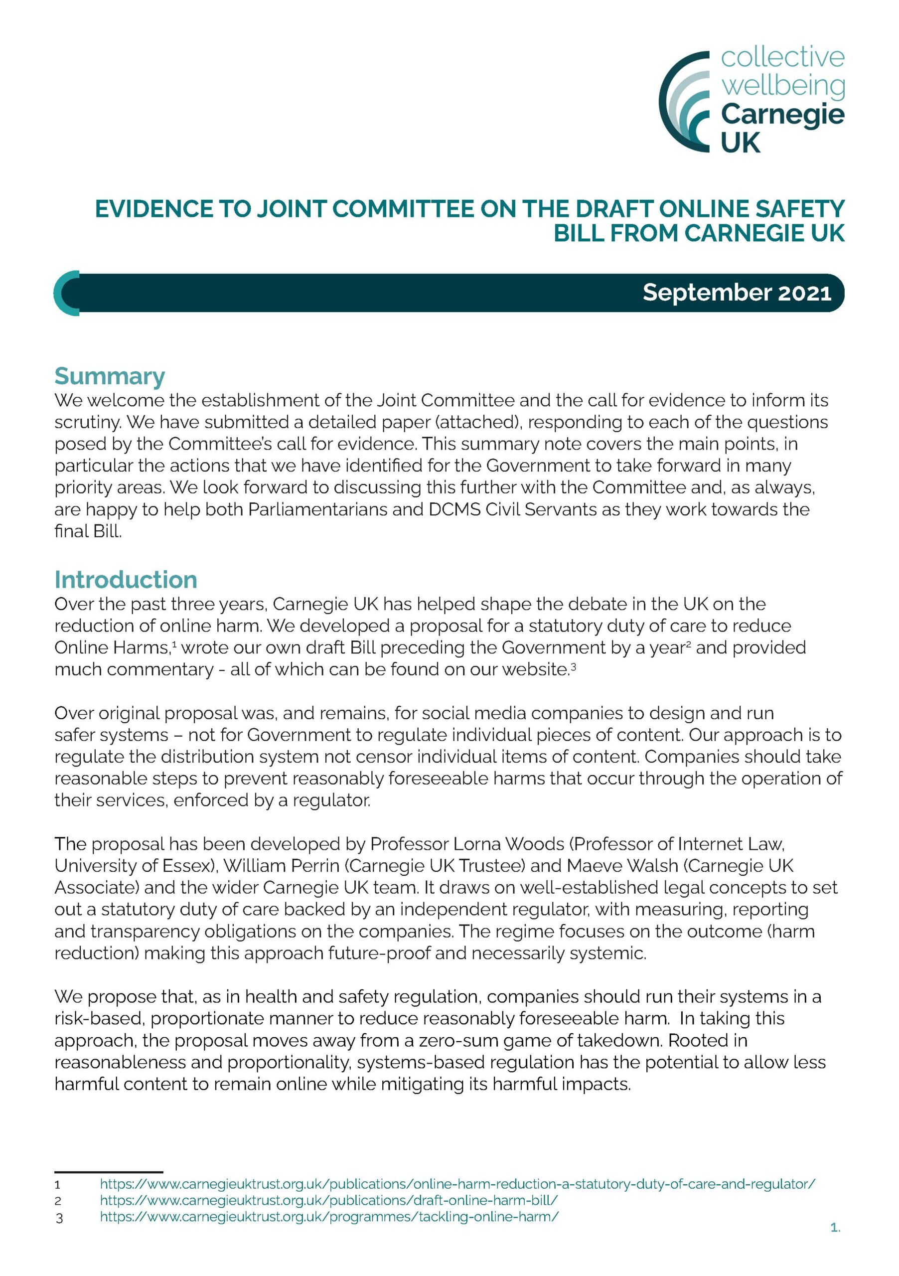 Evidence to Joint Committee on the draft online safety bill