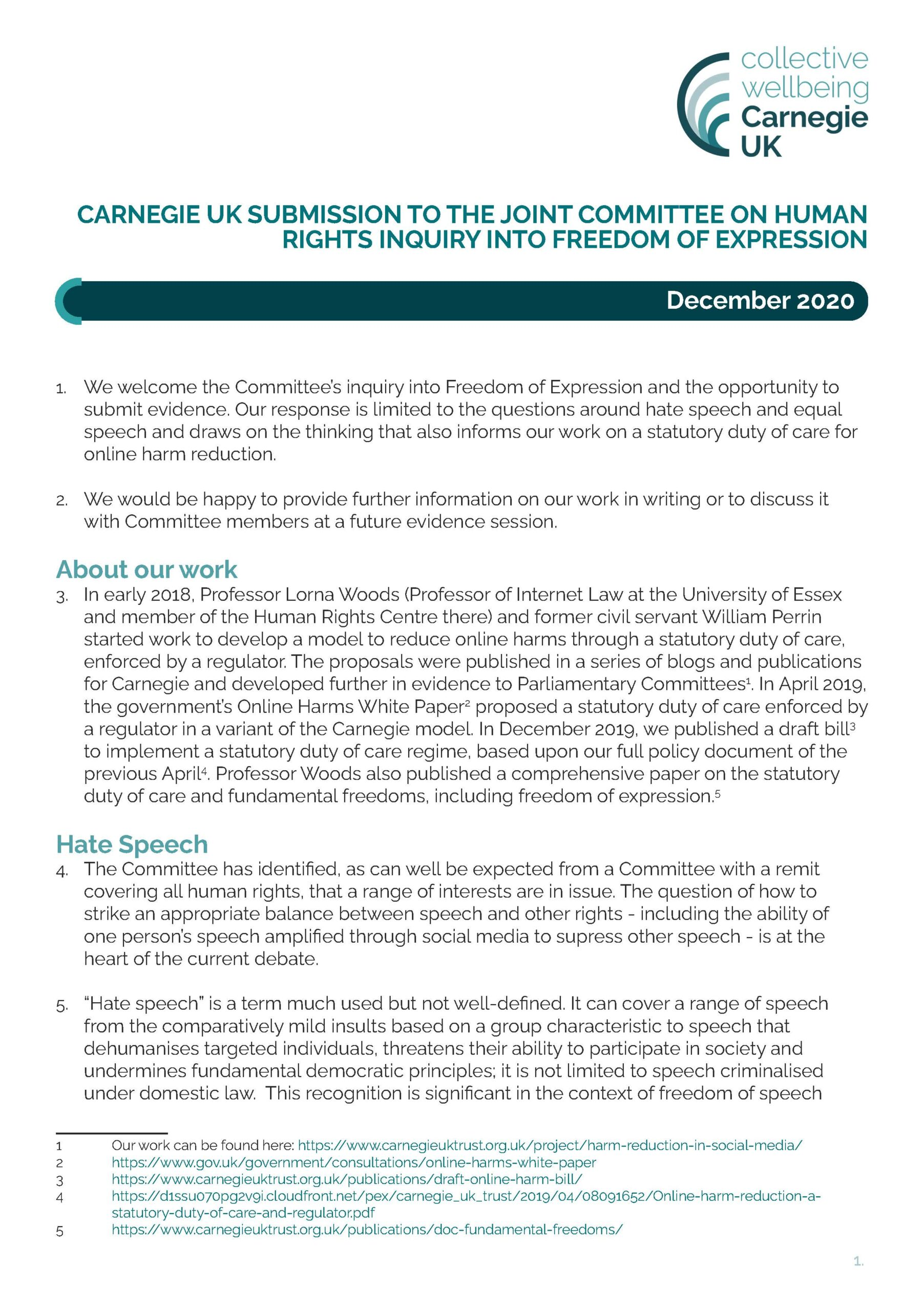 Submission to the Joint Committee on Human Rights Inquiry into Freedom of Expression