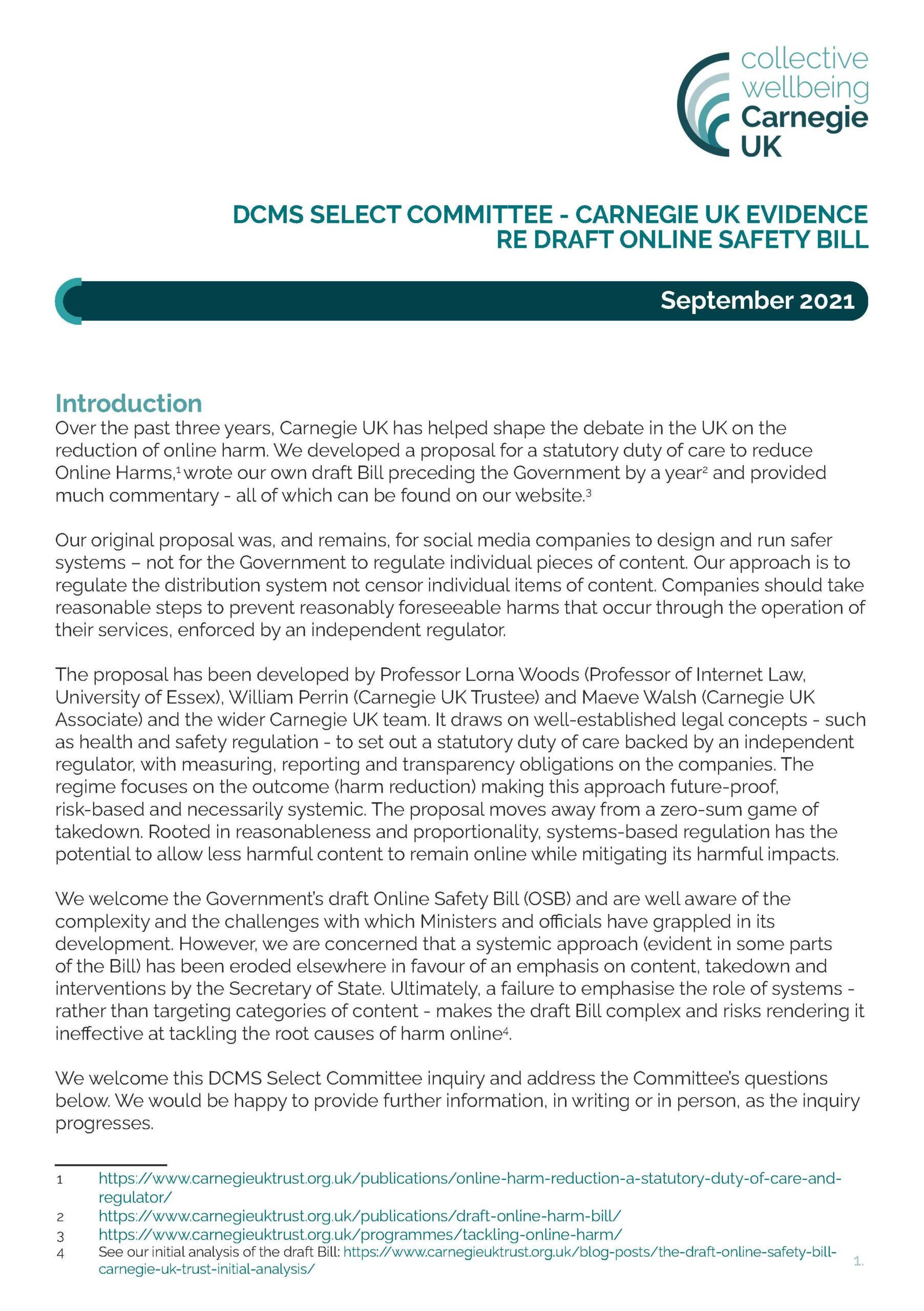 DCMS Select Committee – Carnegie UK Evidence draft online safety bill