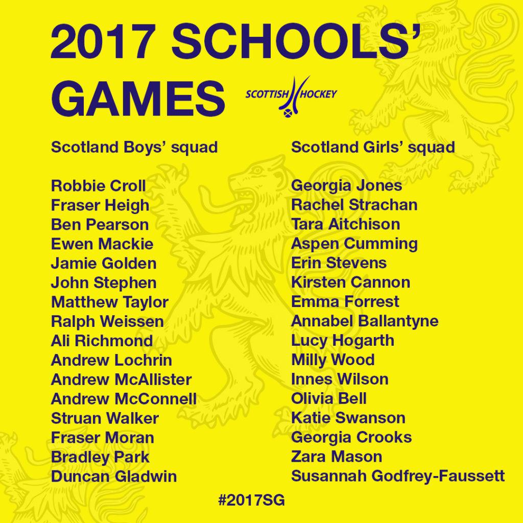 Scotland's 2017 School Games squads