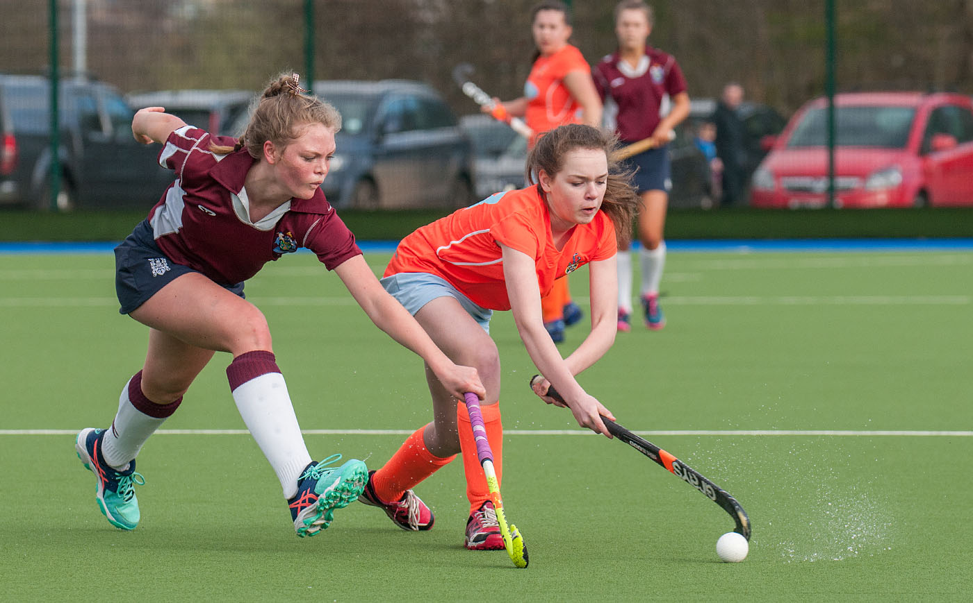 Scottish U16's hockey cup finals 2017 - girls striving for the ball