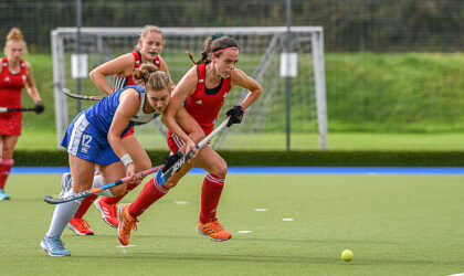 Scotland's Senior Women v Wales at Auchenhowie 25th Sep 2021. Scotland's Charlotte Watson takes an elbow to the chin as she battle for the ball against Wales. Picture: Mark Pugh