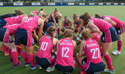 Scotland Senior Women in huddle prior to second match v Wales at Auchenhowie