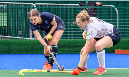 Action shot from Watsonians v GHK ladies Premiership hockey match. Photo by Duncan Gray