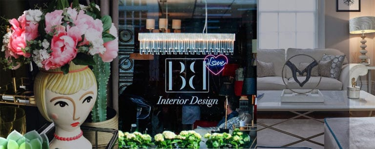 Grid: 3 images. Left to right: a contemporary female faced shaped vase of flowers in BB's window; the BB showroom window with logo; a neutral sleek interior showing sofa and coffee table designed by BB.