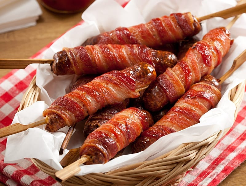 Bacon and Sausage Lollipops