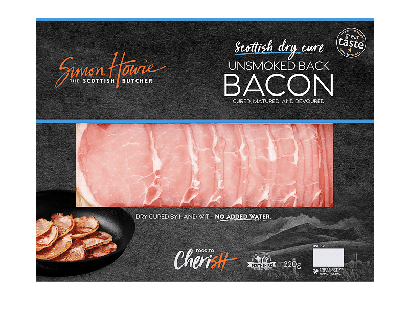 Scottish Dry Cure Unsmoked Back Bacon 220g