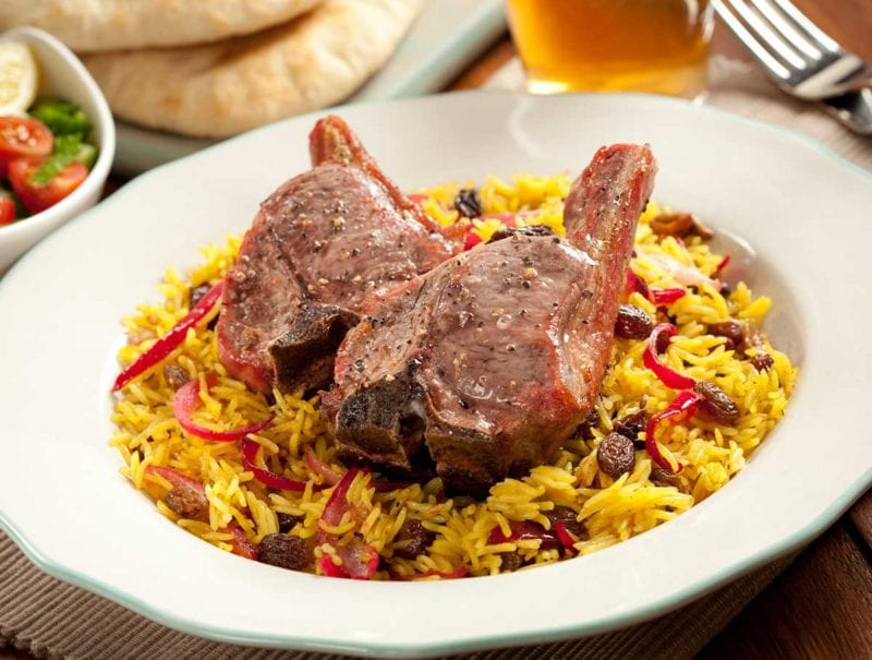 Lamb T-Bones with Indian-style Rice