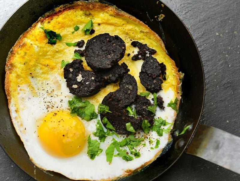 Baked Eggs and Black Pudding
