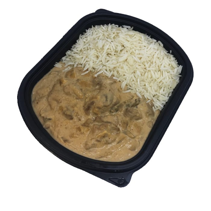 Beef stroganoff with basmati rice