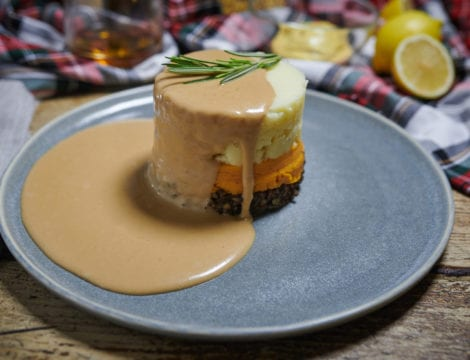 Haggis, Neeps and Tatties Stack with a Whisky Sauce