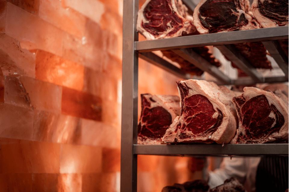 Himalayan salt wall dry aged beef