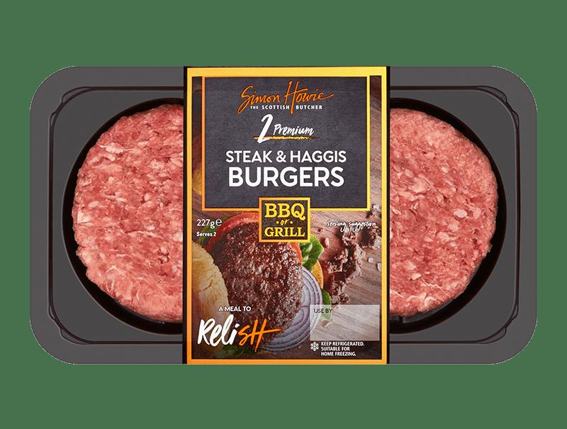 Steak & haggis burgers