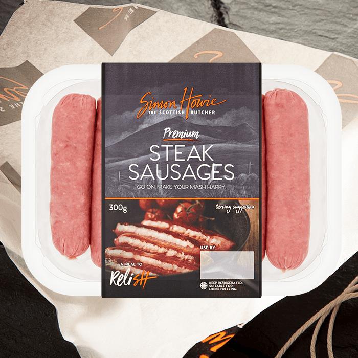 Premium steak sausages