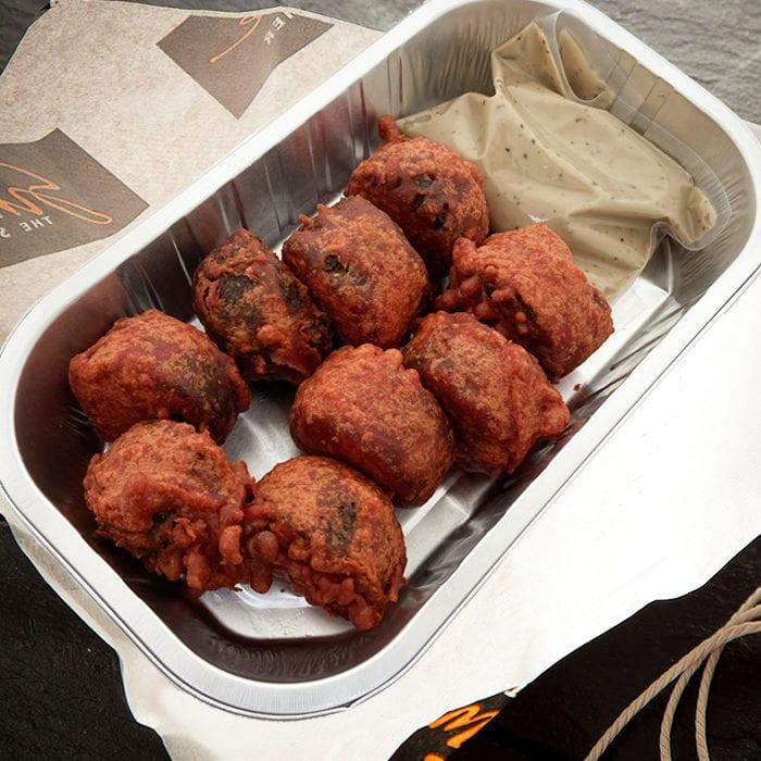 Haggis Pakora with Peppercorn Sauce