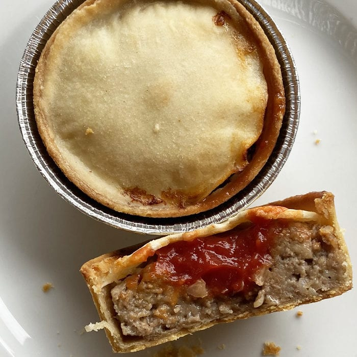 Saucy Scotch pies with ketchup