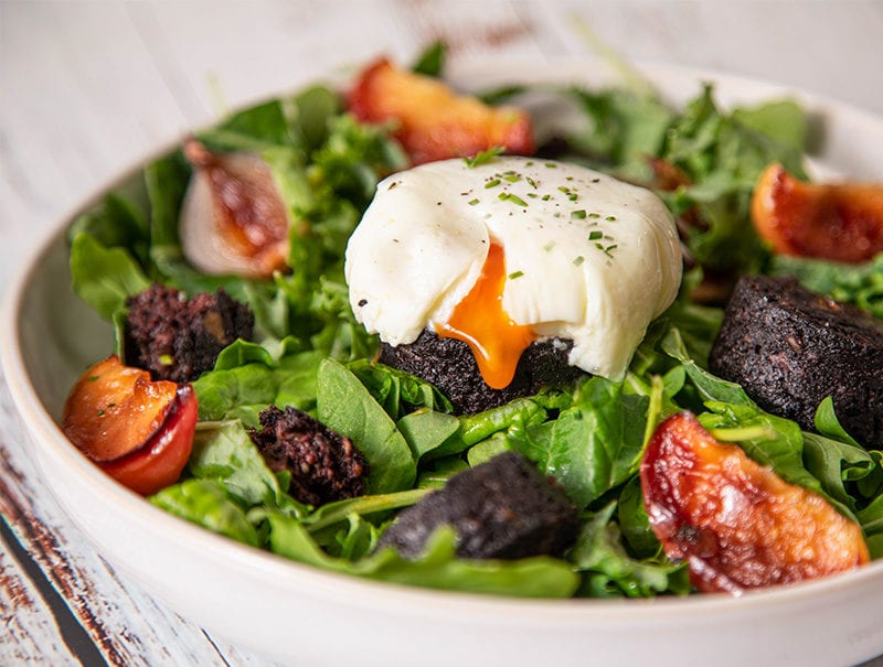 Wee Black Pudding and Caramelised Apple Salad with Honey Mustard Dressing