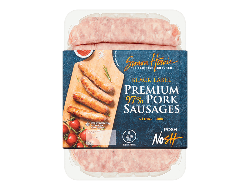 Black Label Premium 97% Pork Sausages 400g
