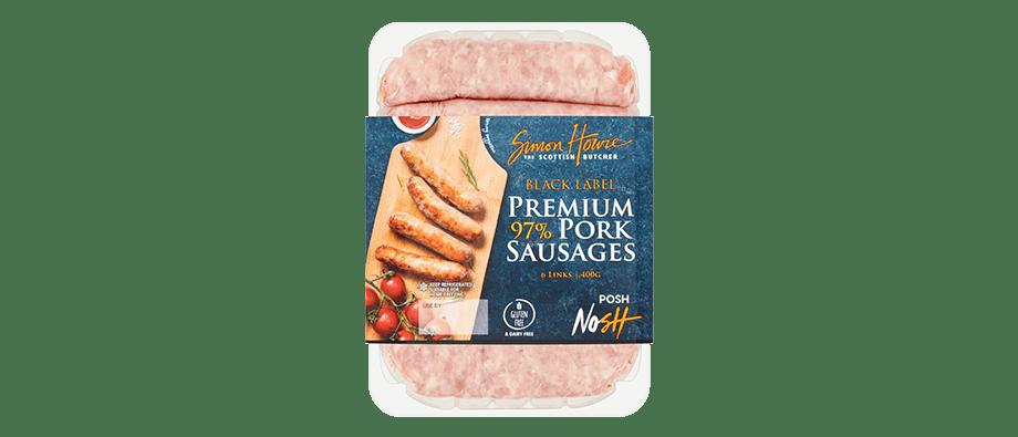 Black Label Premium 97% Pork Sausages 400g