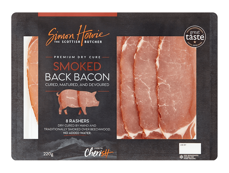 Premium Dry Cure Smoked Back Bacon 220g