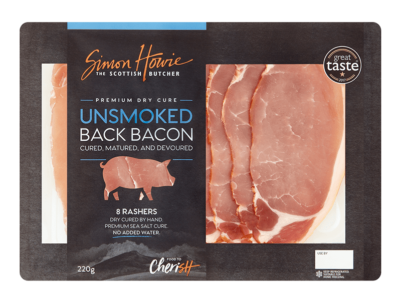 Premium Dry Cure Unsmoked Back Bacon 220g