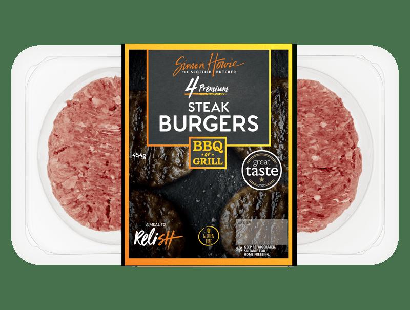 4 Premium Steak Burgers 454g