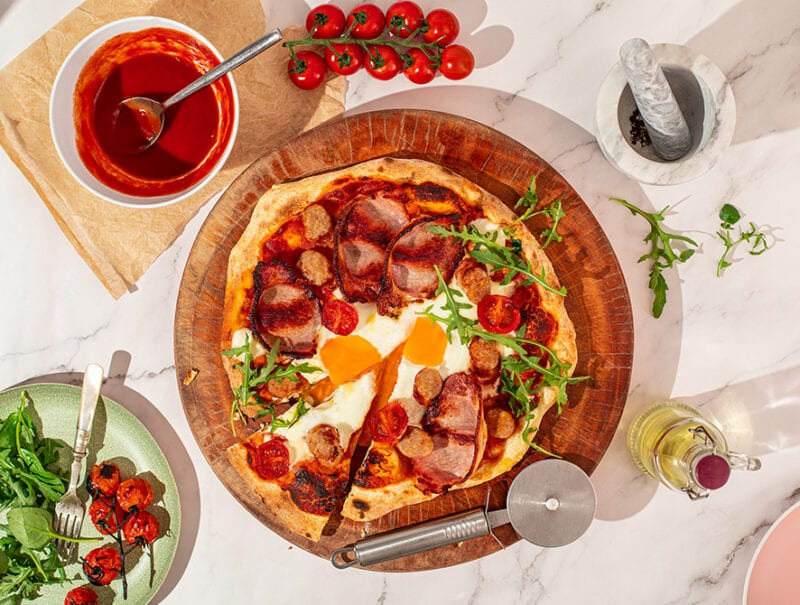 Bacon & Sausage Breakfast Pizza (Pizza Oven Method)