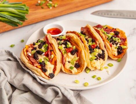 Breakfast Pancake Tacos (Streaky Bacon & Black Pudding)