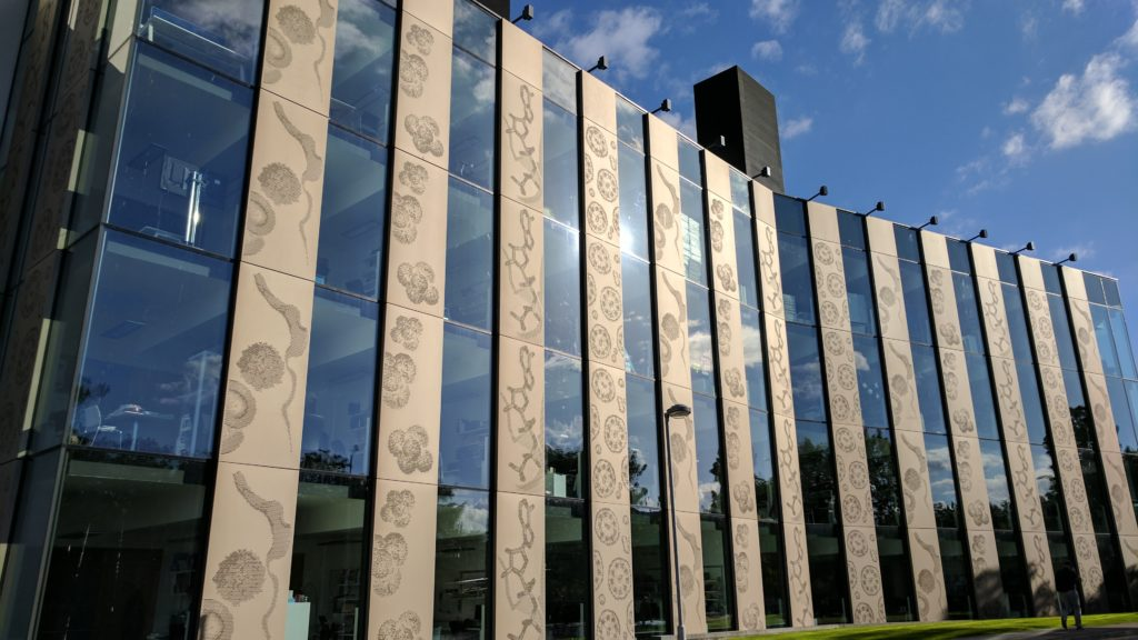 The decorative panels on the outside of the Discovery centre, School of Life Sciences