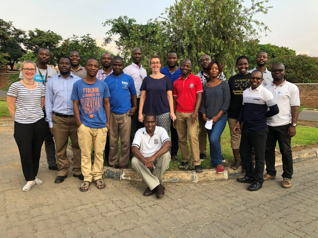 Suze and Lauren with the students on Malawi short course 2018