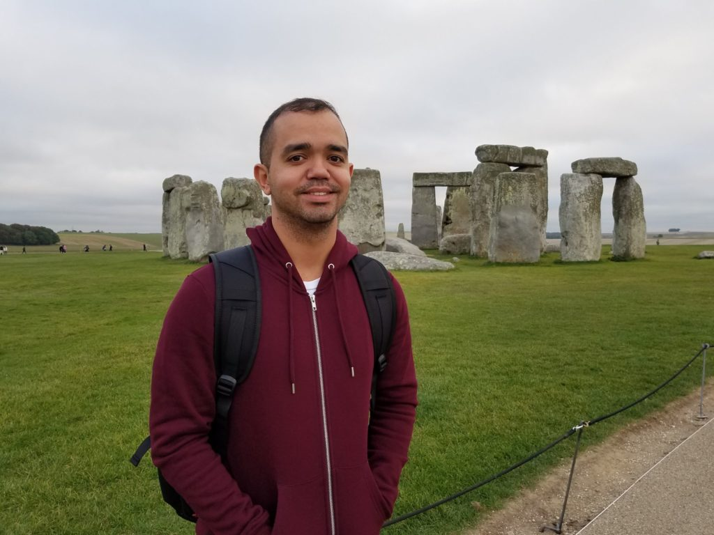 Image shows Rafael visiting Stonehenge