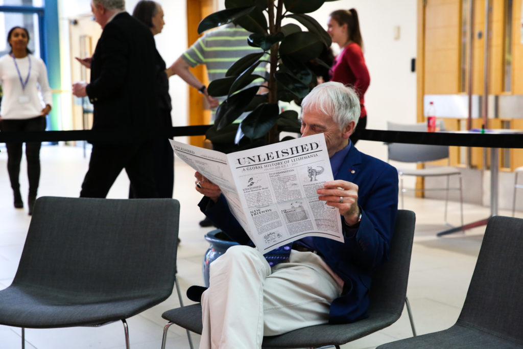 Prof. Fairlamb enjoys the Unleished newspaper