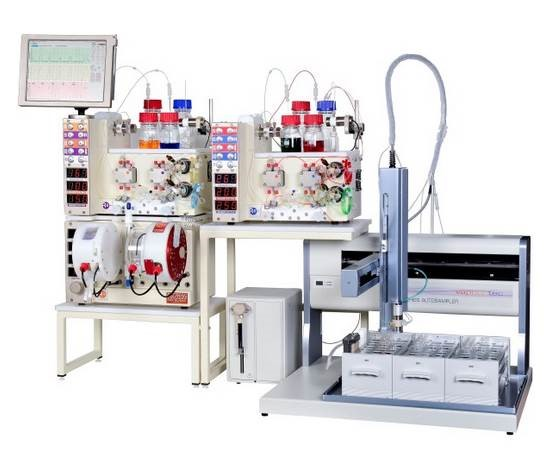 Image shows the equipment required for flow chemistry