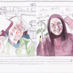 A watercolour of scientist Alan Fairlamb and artist Emily Fong as they share mobile phones, over an online meeting