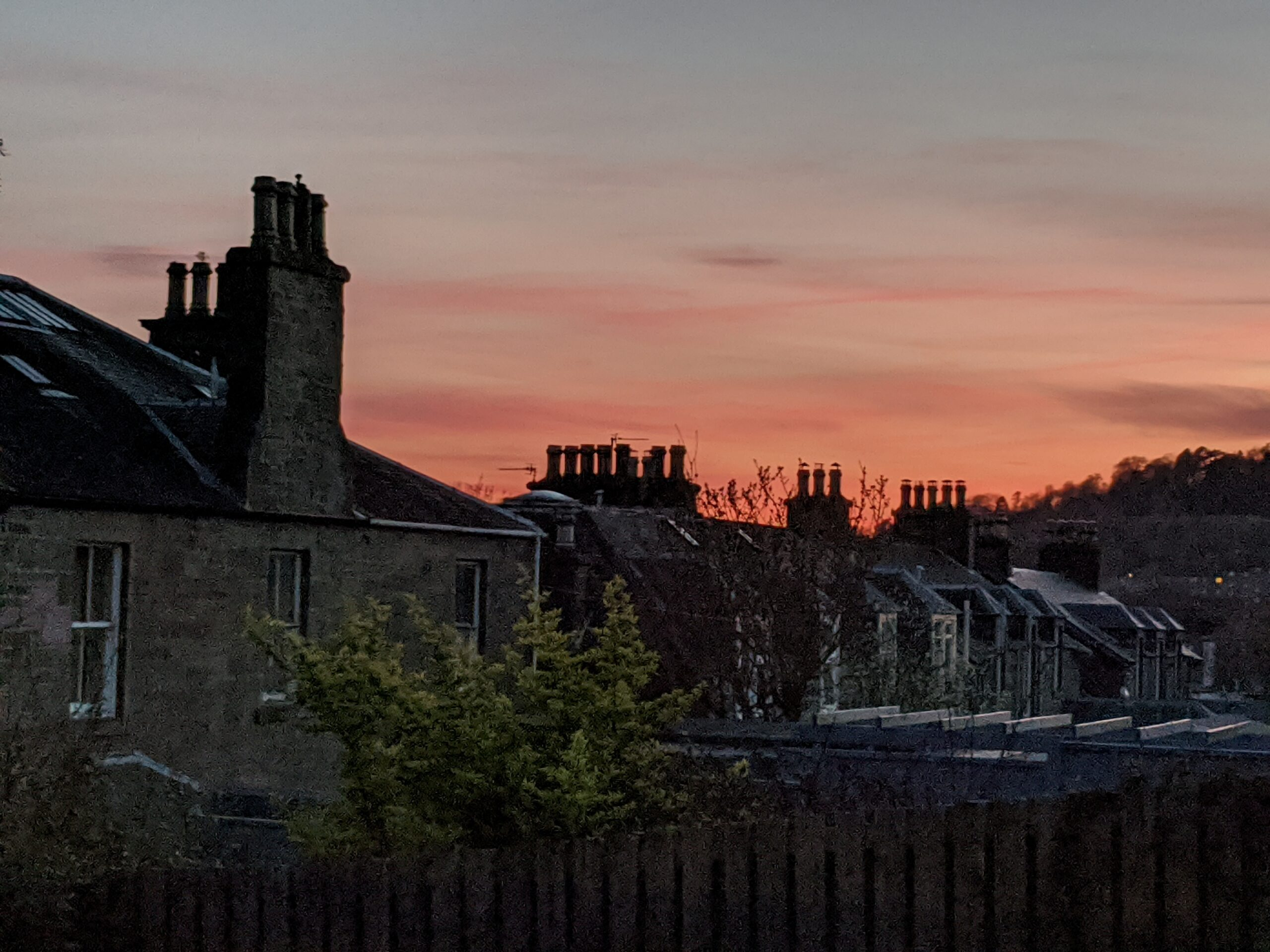 Sunset over street in Dundee