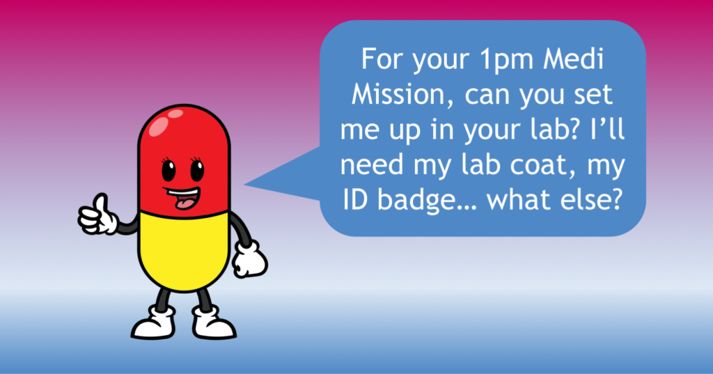 Medi challenges you to your 1pm mission, to get her set up in your home lab!