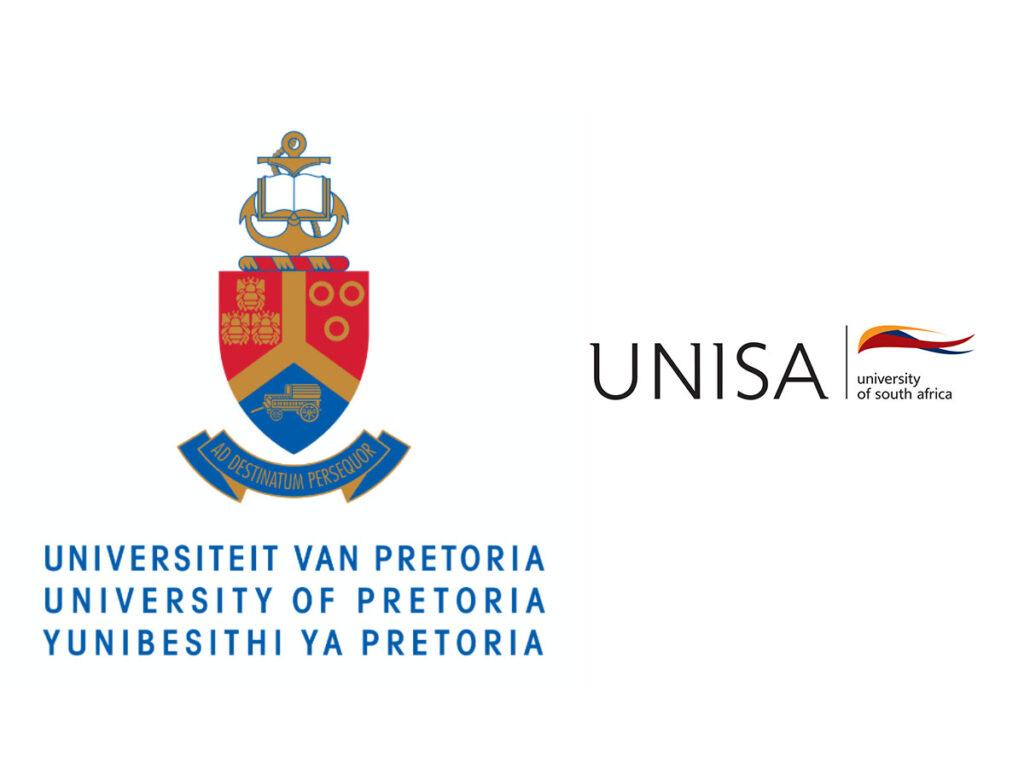 Logos of University of Pretoria and University of South Africa